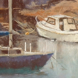 Painting entitled Amlwch Harbour by Steve Williamson